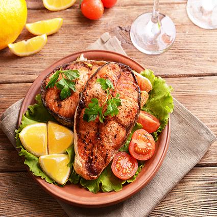 Geroosterde vis-Roasted fish