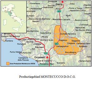 Map wijngebied Montecucco DOCG- Map wine area Montecucco DOCG