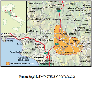Map wijngebied Montecucco DOCG - Map wine area of Montecucco DOCG
